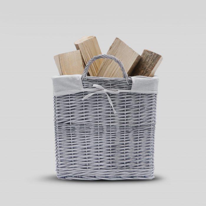 Buff Grey Square Log Basket