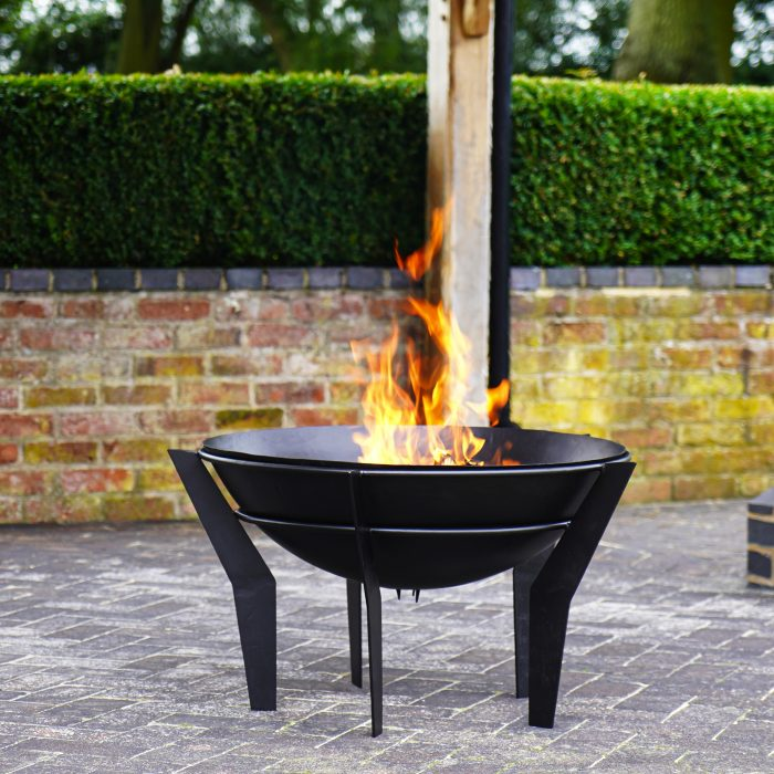 Outdoor Metal Kendal Fire bowl on Stand - Black